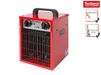 2kW Bauheizer Heizstrahler mit 3 Stufen, Ventilatorfunktion & Thermostat