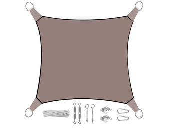 Sonnensegel Quadratisch Grau Braun 5m mit Ösenset für Balkon / Terrasse