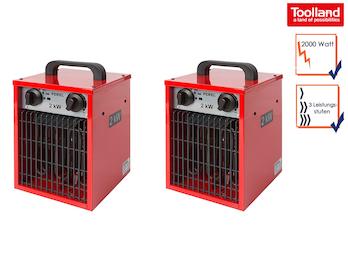 Bauheizer Heizstrahler 2kW als 2er Set, Ventilatorfunktion & Thermostat