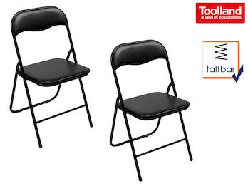 Klappstuhlset schwarz gepolstert, faltbarer Stuhl, Campingstuhl, Terrassenmöbel
