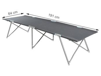 Faltbares Feldbett, ein praktisches Gästebett mit Aufbewahrungstasche in Grau