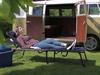 Stabile Dreibeinliege: Gartenliege & Sonnenliege SIENA Blau gepolstert