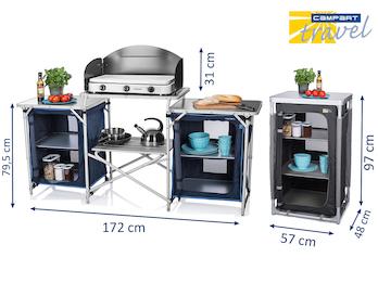 Campingküche & Schrank faltbar im Set - OUTDOOR Küchenschrank Stoffschrank