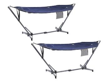 Faltbare Hängematten 2er Set mit Ständer und Tragetasche, blau, bis 150 kg