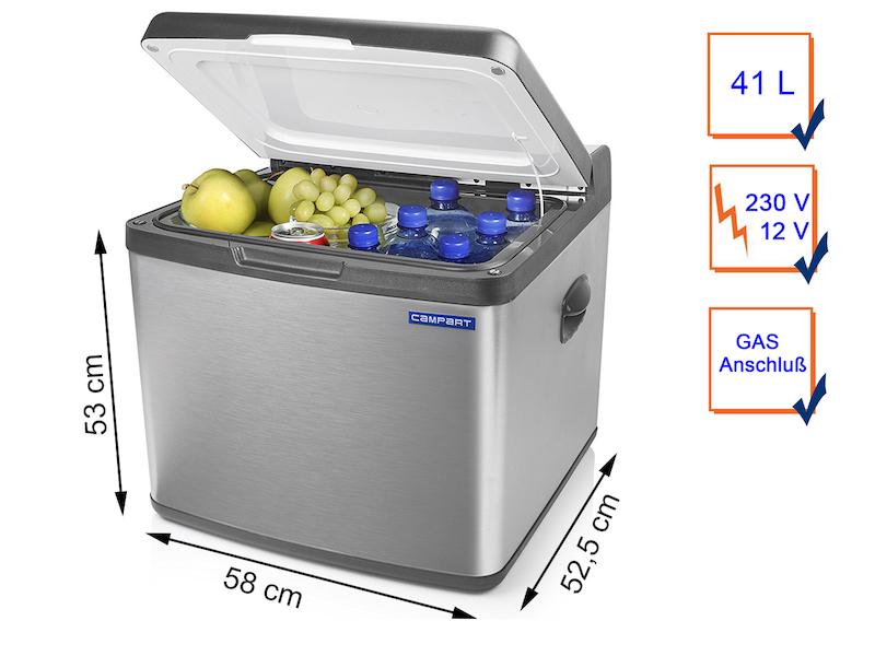 Grosse Kühlbox mit Edelstahlblende, 41Liter, geräuschloses Absorptions-System