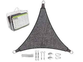 Sonnensegel Dreieck wasserdurchlässig Dunkelgrau 5m - mit Ösenset für Balkon