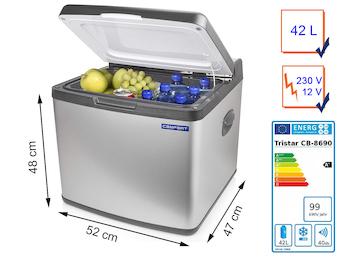 Große 42 Ltr. Hybrid Kühlbox mit Edelstahlblende, geringer Energieverbrauch