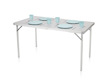 Stabiler Alu Camping Tisch mit erweiterbarer Lamellen Tischplatte 94/127 x 70 cm