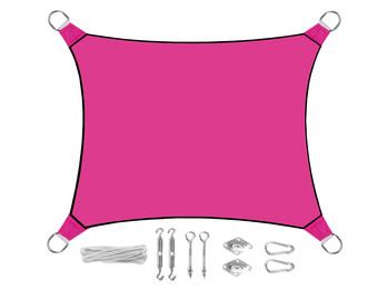 Sonnensegel Rechteckig 4x3m Pink mit Ösenset - Sonnenschutz für Balkon Terrasse