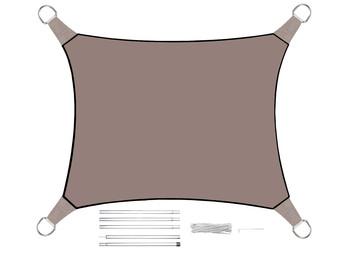 Sonnensegel Rechteckig 2x3m Grau Braun mit Stangenset - Sonnenschutz für Garten