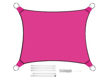 Sonnensegel Rechteckig 4x3m Pink mit Stangenset - Sonnenschutz für den Garten