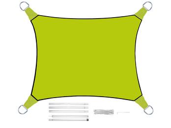 Sonnensegel Rechteckig 4x3m Grün mit Stangenset - Sonnenschutz für den Garten