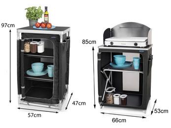 Campingküche mit Windschutz + Outdoor Küchenschrank im 2er SET - klappbar