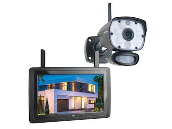 IP Überwachungskamera Outdoor mit 9 Zoll Innenmonitor, App-Steuerung