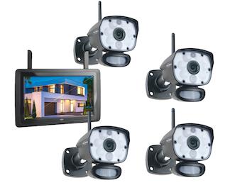 IP Überwachungskameraset Outdoor mit 9 Zoll Innenmonitor, App-Steuerung