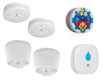 2-Raum-Wohnung Alarm-Set (Rauch, Hitze, Wasser), Sicherheit für Zuhause