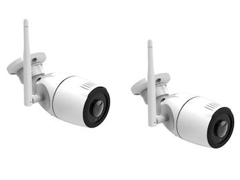 Outdoor IP Kameraset 180°, Nachtsicht bis 15m, HD-Auflösung, Steuerung per App