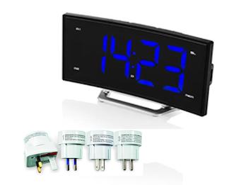 Radiowecker mit Universal Reisesteckerset, USB-Anschluss, 2 Weckzeiten & Snooze