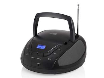 Tragbares Radio schwarz mit CD-Player & FM PLL Tuner, 2x1 Watt Lautsprecher