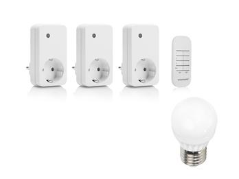 Smarthome Funksteckdosen mit Fernbedienung zum Schalten von Leuchten & 3 E27 LED