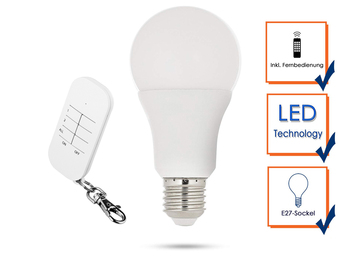 Fernbedienbares E27 LED Leuchtmittel Glühbirne 7W mit passender Fernbedienung