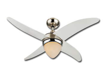 Chrom Deckenventilator mit Beleuchtung & Fernbedienung, weiß