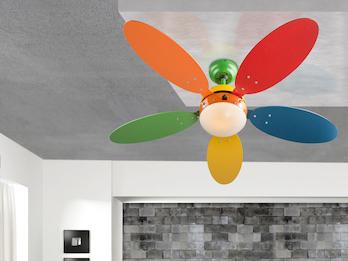 Bunter Deckenventilator mit Beleuchtung & Zugschalter, 3 Stufen regelbar