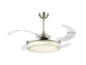 Deckenleuchte & Ventilator CABRERA Silber einklappbare Flügel Ø100cm