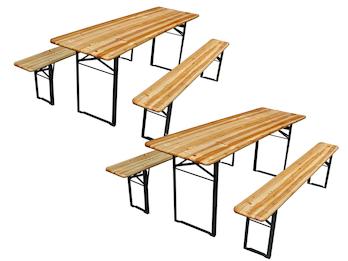 Bierzeltgarnitur aus Holz: 2 Tische & 4 Bänke, Länge 2 Meter, zusammenklappbar