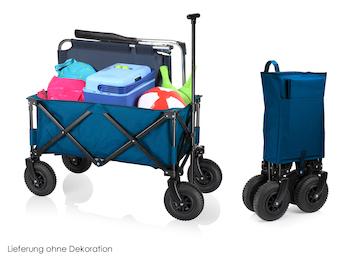 Faltbarer Klappbollerwagen in Blau mit Luftreifen - zusammenklappbarer Handwagen