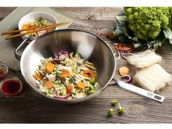 Innovative Edelstahl Wok Pfanne -Healthy & tasty- Ø30 cm - Induktion geeignet