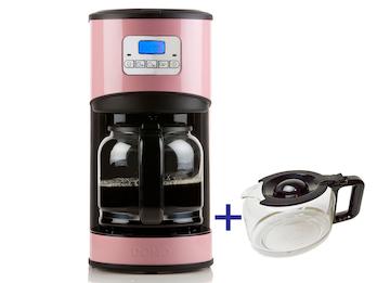 Kaffeemaschine in Rosa mit 24-Std. Timer, 2 x 1,5 Liter, LCD-Anzeige