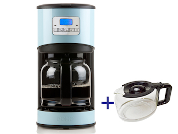 Kaffeemaschine in Blau mit 24-Std. Timer, 2 x 1,5 Liter, LCD-Anzeige