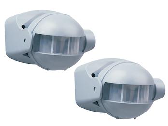 2er Pack Bewegungsmelder im Alu-Design, 12m/180° einstellbar Zeitintervall