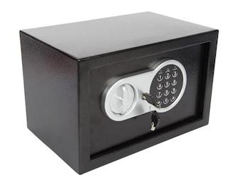 Elektronischer Safe mit Zahlencode & Notschlüssel, Möbeltresor 20x31x20cm