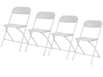 Robustes Klappstuhlset weiß, faltbare Stühle, Campingstühle, Terrassenmöbel
