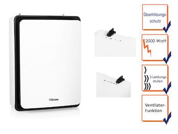 Elektrischer Heizlüfter / Raumheizung mit Ventilator Funktion und 3 Heizstufen