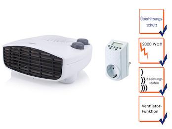 Liegender Heizlüfter mit Zeitschaltuhr, Thermostat und Ventilator, Flurheizung