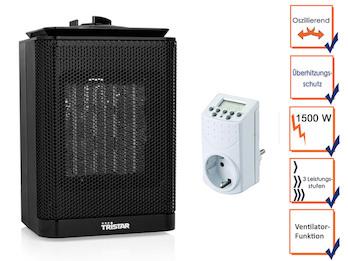 Oszillierender Elektroheizer 1500W mit Thermostat, Frischluft Modus & Timer