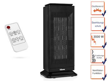 Oszillierender Elektroheizer 2000W mit Thermostat, Timer & Fernbedienung