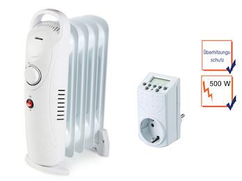 500 Watt Elektroheizung mit regelbarem Thermostat & Zeitschaltuhr, Raumheizung