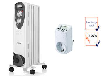 1500W Elektroheizung mit Rollen, regelbarem Thermostat & Timer, Raumheizung