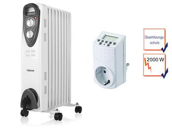 2000W Elektroheizung mit Rollen, regelbarem Thermostat & Timer, Raumheizung