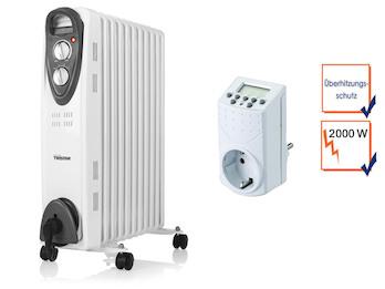 2000W Elektroheizung mit Rollen, 11 Rippen, regelbarer Thermostat, Zeitschaltuhr