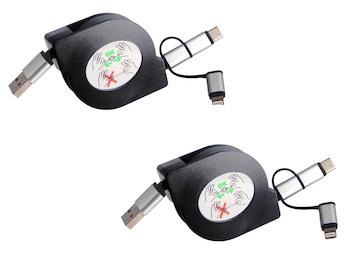 3in1 USB Kabel ausziehbar im 2er Set, Ladekabel schwarz für alle Marken + iPhone