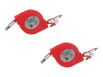 3in1 USB Kabel ausziehbar im 2er Set, Ladekabel rot für alle Marken + iPhone