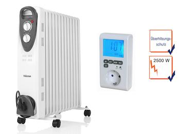 2500W Elektroheizung mit Rollen, 13 Rippen, regelbarer Thermostat, Zeitschaltuhr