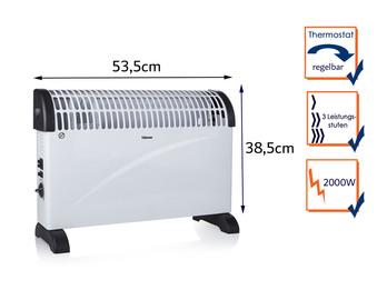 Elektroheizung (Konvektor) mit Thermostat, Raumheizung Turbo-Funktion 2000Watt