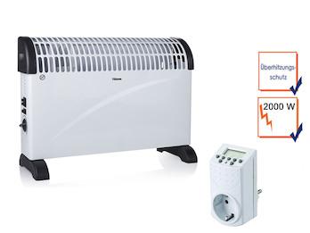 2000W Konvektor mit Thermostat, Turbo-Funktion & Zeitschaltuhr, Elektroheizung