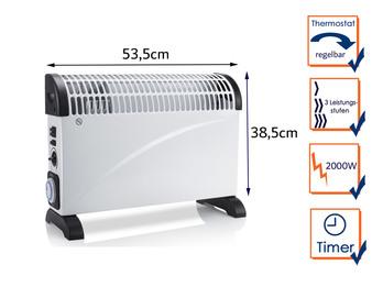 2000W Turbo Elektroheizung (Konvektor) mit Thermostat & Timer, Raumheizung